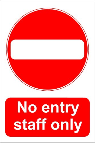 Cartello No Entry - Staff Only - Vinile autoadesivo 200 mm x 150 mm.