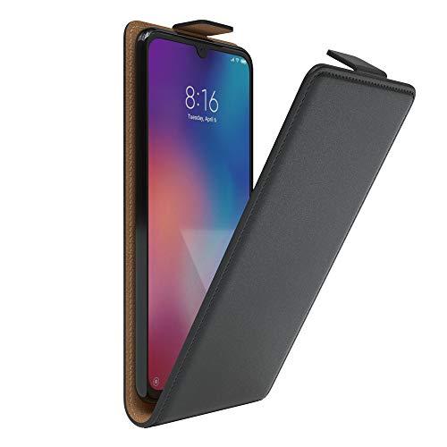 EAZY CASE Hülle kompatibel mit Xiaomi Mi 9 Flip Cover zum Aufklappen, Handyhülle aufklappbar, Schutzhülle, Flipcover, Flipcase, Flipstyle Hülle vertikal klappbar, aus Kunstleder, Schwarz