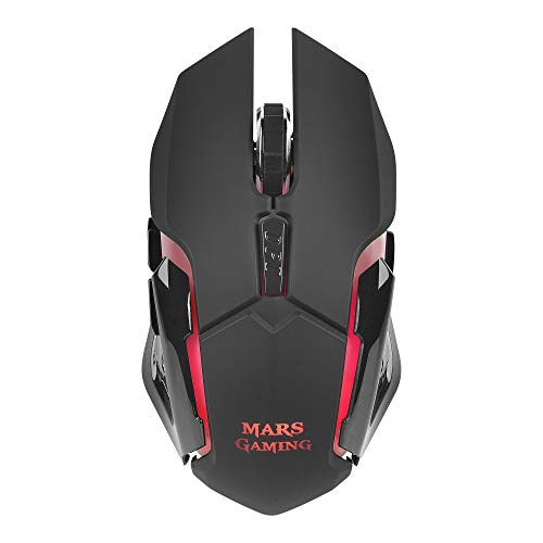 Mars Gaming MMW, Ratón para Pc Inalámbrico 3200Dpi, Rgb Flow, Wireless, USB, LED Óptico, Radio