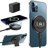 KKM Magnetico Caricabatterie Wireless, Compatibile con MagSafe Caricatore, 15W Pad di Ricarica Wireless per iPhone 12/12 Pro/12 PRO Max /12 Mini/AirPods PRO(con Alimentatore USB da 18W)