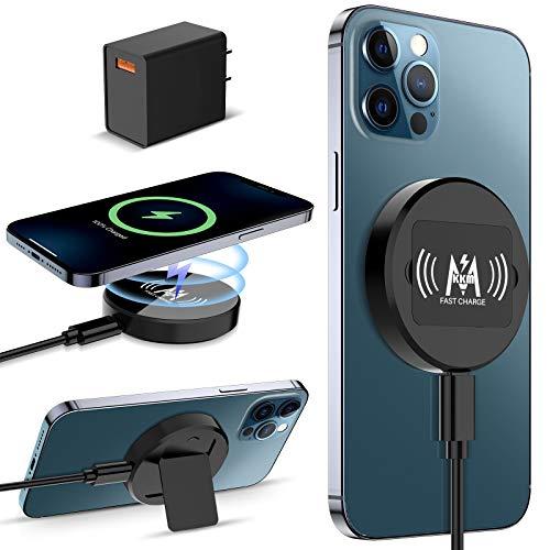 KKM Magnetisch Wireless Charger,Kompatibel mit MagSafe Ladegerät,15W Kabellos Ladegerät für iPhone 12/12 Pro/12 Pro Max/12 Mini,Schwarz(QC 3.0 Adapter Enthalten)