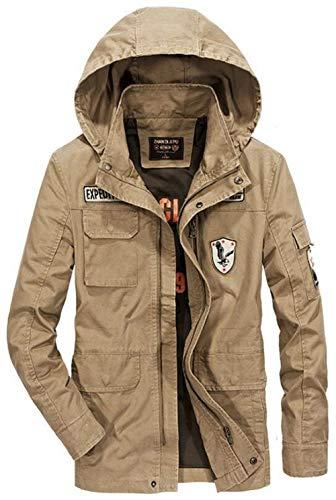 Herren Baumwolle Leichte Kapuze Feld Luftwaffe Mantel Jungen Jacke Mit Fashion Patches Men's Military Hooded Bomber Coat (Color : Khaki, Size : 2XL)
