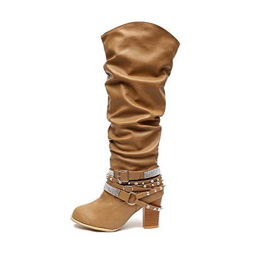 Botas Mujer Cuero Tacón Bloque Largo Botas Altas Otoño Remache Zapatos de Mujer Cuña Señoras Botines Calzado Moda Negras Marrón Beige 35-43 KH36