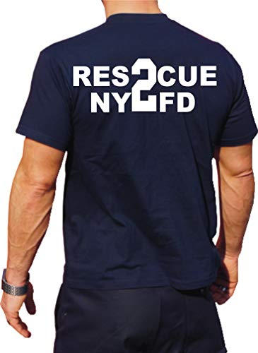 Feuer1 T-shirt fonctionnel Navy avec protection UV 30+, NYFD (Rescue 2) Brooklyn XL bleu marine