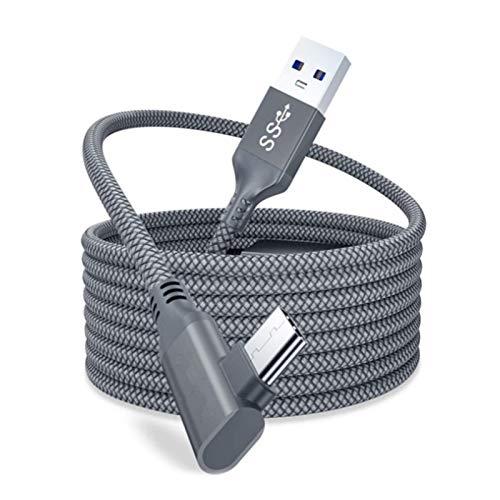 Jackallo Cable de Enlace 16 pies, Transferencia de Datos de Alta Velocidad, Cable de Cargador rápido, Cable Tipo C, Compatible con Oculus Quest 2 VR