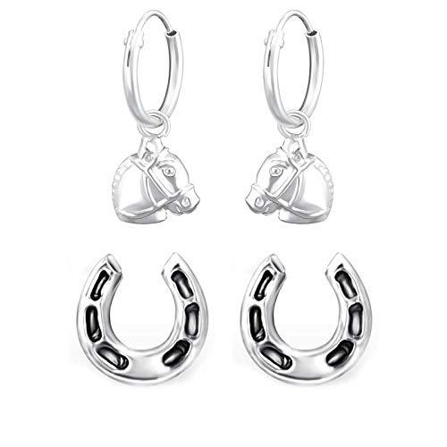 FIVE-D 2 Paar Ohrringe Pferd und Hufeisen 925 Sterling Silber im Schmucketui (Set-4-Creolen)