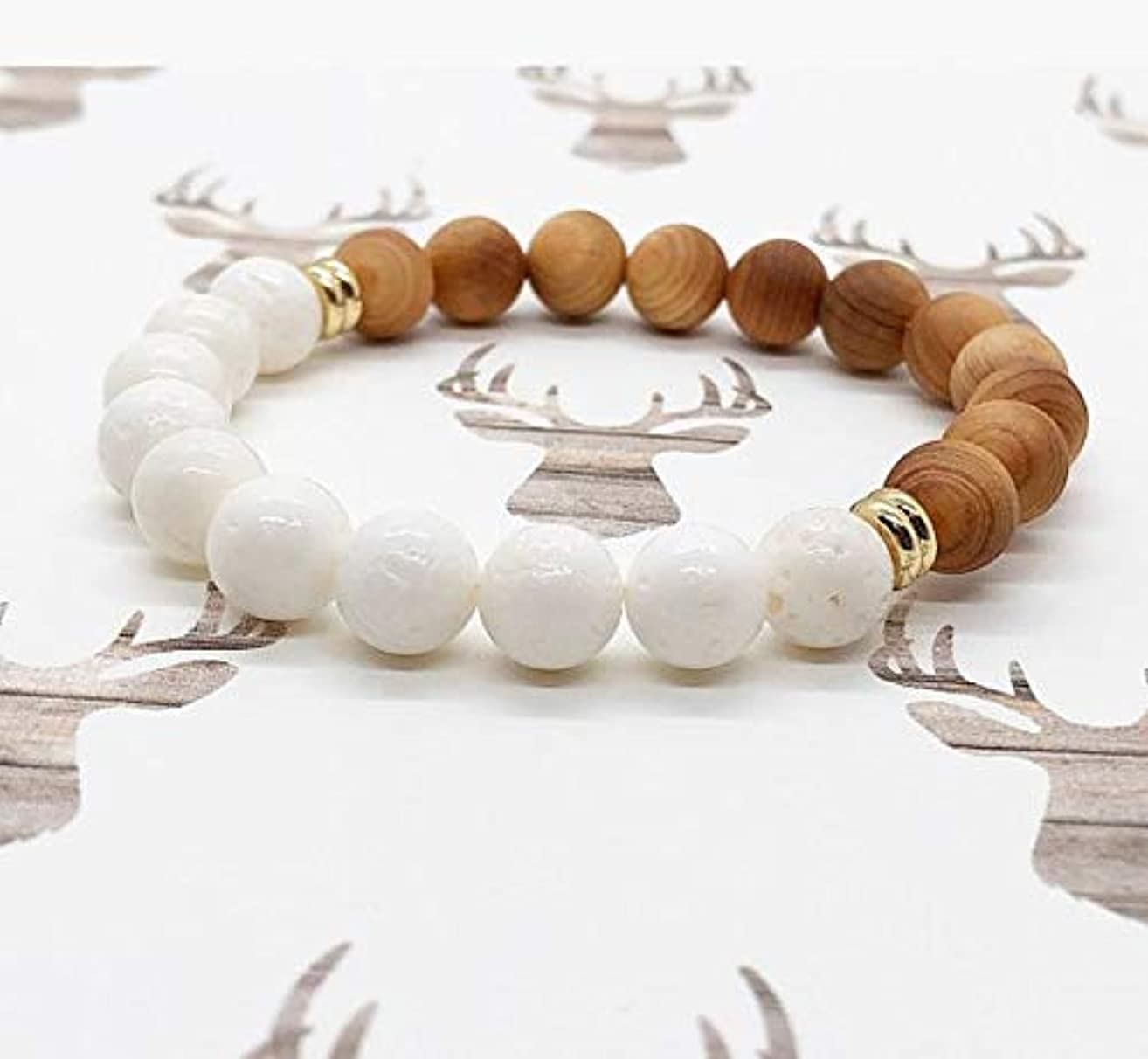 Thuja Wood & Sponge Coral Diffuser Bracelet, Wood Diffuser, Natural Diffuser Bracelet, Coral Bracelet, White Lava Rocks, Yoga Accessories, Aromatherapy, Oil Bracelet, Oil Diffuser, Handmade
