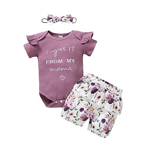 Haokaini Baby Mädchen Brief Gedruckt Strampler Blumenhose Stirnband Outfits Kleidung Set (Lila,0-6 Monate)
