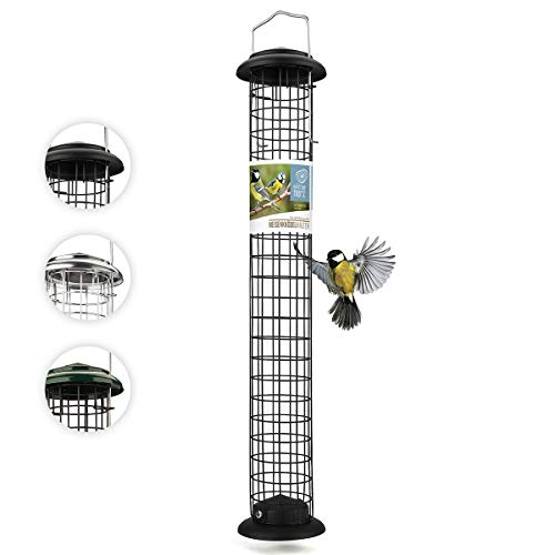 wildtier herz I Meisenknödelhalter XL 52cm aus rostfreiem Metall – Futterspender, Futterstation für Vögel zum Aufhängen, zur ganzjährigen Wildvögel Meisenknödel, Schwarz