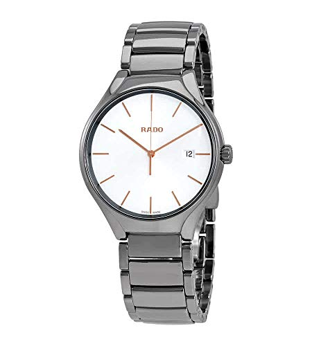 Rado True R27239102 - Reloj de Pulsera para Hombre, Esfera Blanca de cerámica