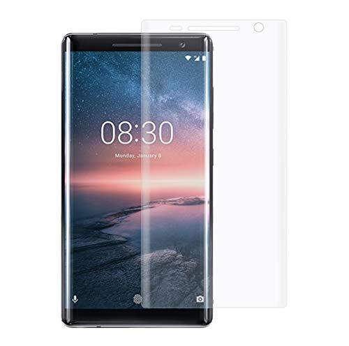 """Nokia 8 Sirocco 5.5"""" Pellicole Protettive,XunEda 3D Curvo Full Coverage Senza bordi bianchi 9H Durezza HD Pellicola Vetro Temperato Screen Protector per Nokia 8 Sirocco smartphone.(Transparent-1 Pack)"""