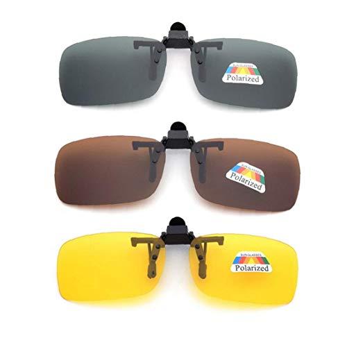 Frame-menos 3 Pcs Unisex Uv400 Lente Polarizada Rectángulo Lente Tirón Encima Del Clip En Prescripción De Gafas De Visión Nocturna Gafas Prácticos Y Utilidades