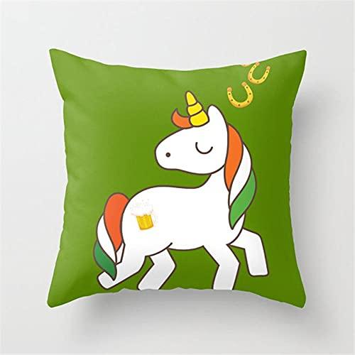 Funda de Cojines 50X50Cm Microfibra Suave Fundas de Almohada Unicornio Verde, Blanco para Cojines Decorativos para Exterior Sofá Cama Coche Hogar