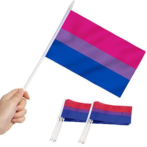 Anley Bisexual Pride Miniature Flag, Bandera de Palo de Mano de 5x8 Pulgadas con Poste sólido Blanco de 12