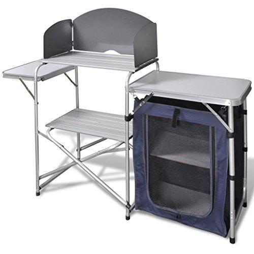Festnight Campingküche aus Aluminium mit Windschutz und Tragetasche Klappbar