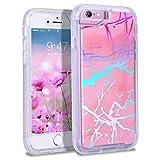 YT MARQUEEN para iPhone 6 / iPhone 6S / iPhone 7 / iPhone 8 Funda Marble Pattern 2 in 1 Carcasa Suave TPU Cubierta PC Anti-arañazo Ligero Case Anti-Shock Protectora Rosa