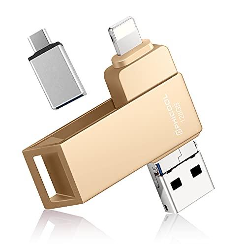 PHICOOL 128 GB USB-Stick für iPhone Externer Speicher, Speichererweiterung Flash-Laufwerks Photo Stick für iPhone iPad iOS MacBook OTG Android Handy Computer Laptop Thumb Drive Geschwindigkeit- golden