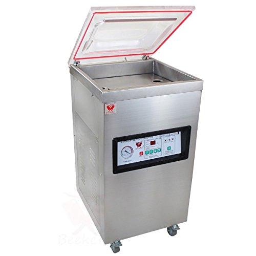 Beeketal \'T400S\' Profi Kammer Vakuumierer mit Impuls Schweißleiste, elektronisch gesteuertes Vakuumiergerät mit 20m³/h Absaugvolumen und integriertem Impuls Folienschweißgerät, Standgerät mit Rädern