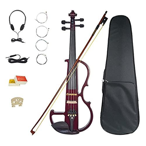 Ennbom 改良版エレキヴァイオリン エボニー サイレント バイオリン 4/4 つや 初心者入門セット (ワインレッド/wine red)