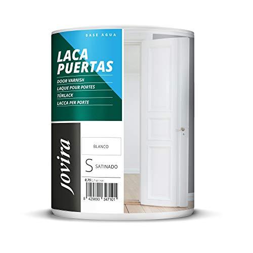 ESMALTE LACA PARA PUERTAS AL AGUA SATINADO, Renueva y decora las puertas y muebles de madera (750 ml, BLANCO)