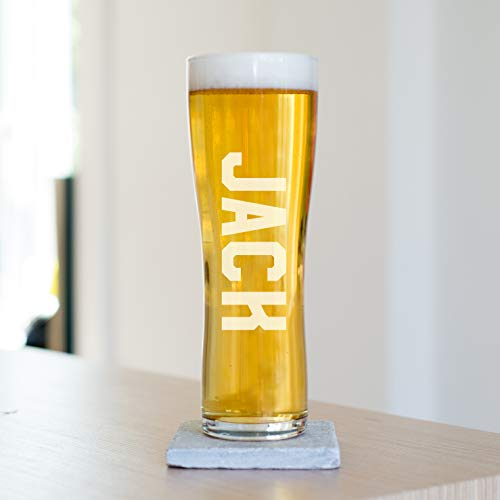 Personalised Name Pint Beer Glass, Toughened Glass, 220 x 77mm, Great Father's Day, Birthday, Wedding Party Gifts