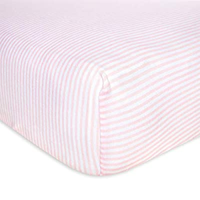 Burt's Bees Baby - Fitted Crib Sheet, Girls & Unisex 100% Organic Cotton Crib Sheet For Standard Crib and Toddler Mattresses (Blossom Pink Thin Stripes)