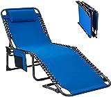 Eortzxk Tragbare Campingstühle, Tragbare tragbare Camping-Lounger, Sonnenliege mit Kissen und verstellbaren Positionen, Patio-Chaisel-Liegestuhl for den Außenbereich Garten-Strand im Freien,Leichter