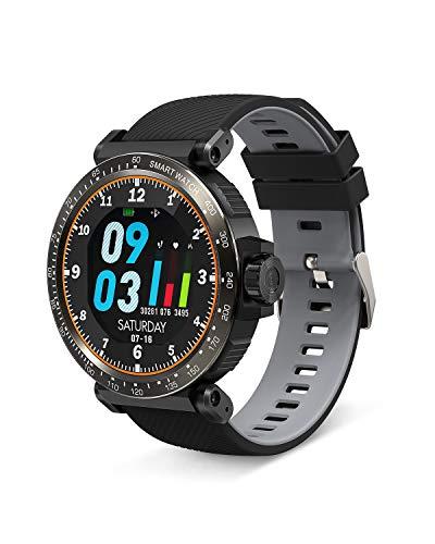 BlitzWolf Smartwatch, Reloj Inteligente IP68 Impermeable HD Pantalla Táctil Completa de 1.3 Pulgadas, Pulsera Actividad con Pulsómetro, Podómetro, Monitor de Sueño, Reloj Deportivo Hombre Mujer(Gris)