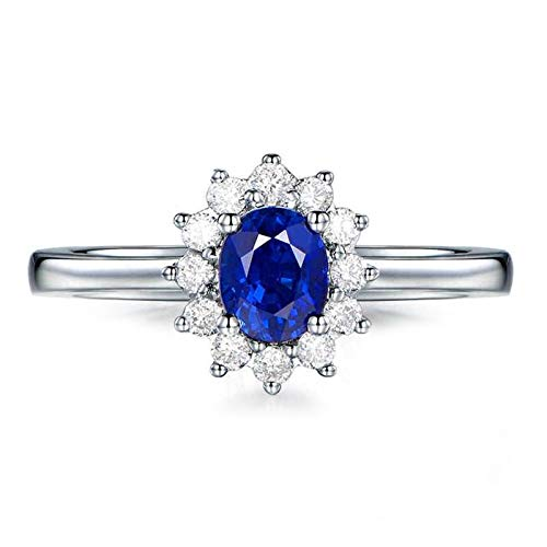 Cenliva Ladies Engagement Ring, 18K Gold 0.65ct Diamond Accented Sapphire with Diamond VVS1-VVS2 Ring Size N 1/2