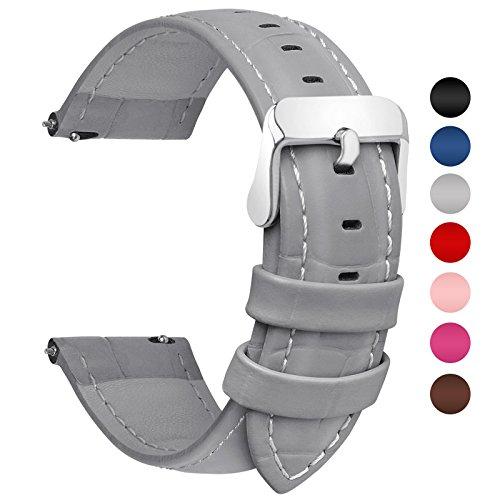 Fullmosa Uhrenarmband 20mm, Echtes Kalbsleder Uhrenarmband in 7 Farben für Mann Frau Bambus Muster Lederarmband mit Edelstahl Metall Schließe,Grau