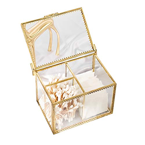 nonbrand Caja de Organizador de Maquillaje Marco de latón Vitrina de Vidrio de algodón cosmético Vitrina Aparador Caja de Almacenamiento Decorativa Antigua sin Polvo