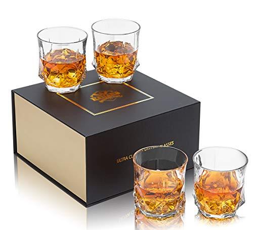 KANARS Vasos de Whisky, Copas de Whisky Cristal 100% Sin Plomo, 300 ml, 4 Piezas, Caja de Regalo de Lujo