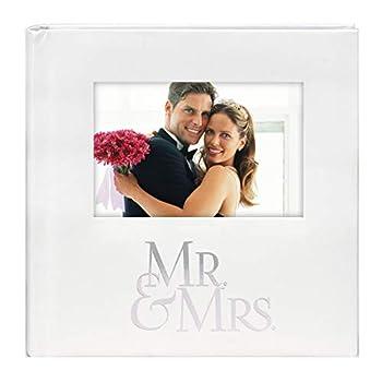 Malden International Designs Mr & Mrs Album with Memo & Photo Opening Cover Photo Album 160-4x6 White