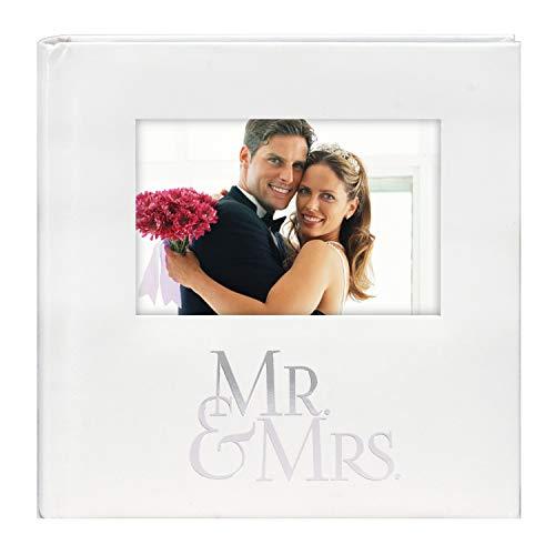 Malden International Designs Mr. & Mrs. Album with Memo & Photo Opening Cover Photo Album  160-4x6  White