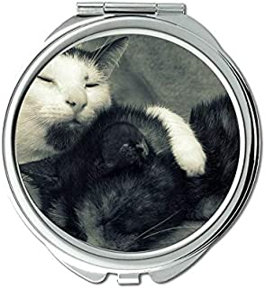 Mirror,makeup mirror,Couple Sleeping Cat Black and White mirror for Men/Women,1 X 2X Magnifying