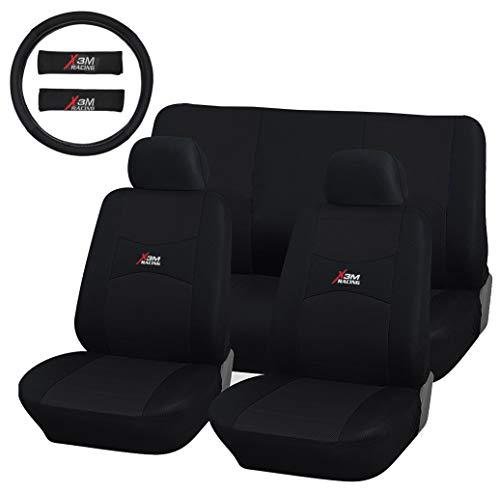 Lupex Shop Coprisedili Auto universali con Copri Volante e Copri Cintura in Tinta con i sedili - X3M Racing (Nero)