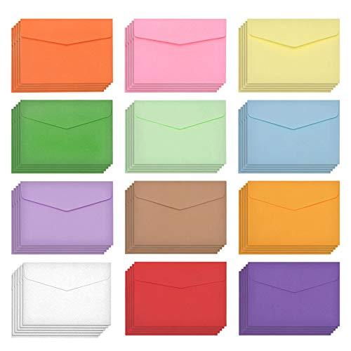 Mini Sobres,120 Pcs Sobres Pequeños Sobres en blanco de bricolaje Multicolor Sobres Invitación Sobres de Colores para bodas cumpleaños fiestas regalos y tarjetas de felicitación 12 colores 11.5X8.2cm