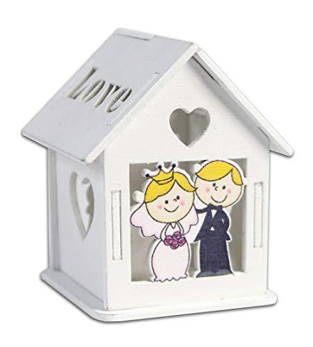 Vetrineinrete Scatoline portaconfetti 36 Pezzi Forma di casetta con Tetto apribile per Confetti per scatole con Incisione Cuore bomboniere segnaposto in Legno per Matrimonio