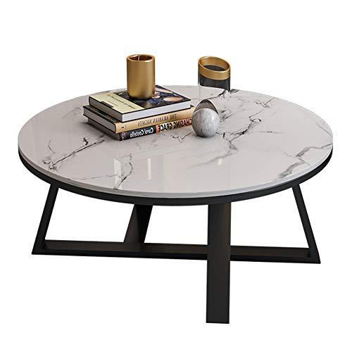 tavolino da caffè Tavolini da caffè in Ferro battuto Simplicity, tavolino Rotondo con Piano in Marmo Naturale, tavolino da Divano, Adatto per Salotto, Ufficio, tavolino Piccolo
