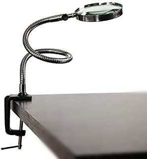 YASE-king 5X 100MM LED Magnifier Metal Hose Magnifying Glass Desk Table Reading Lamp Light with Clamp (Color : Silver, Mag...