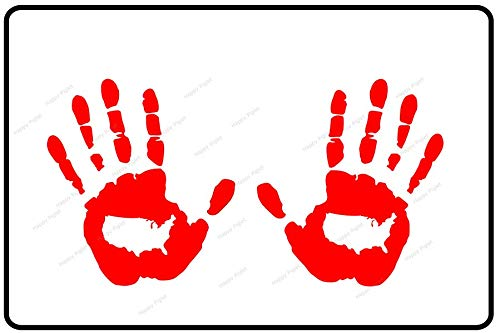 USA Logo Hand Wave Stickers Compatible with Jeep Wrangler JL JT JK TJ YJ CJ and Most Vehicles (x2) Decals Pair Left & Right (RED)