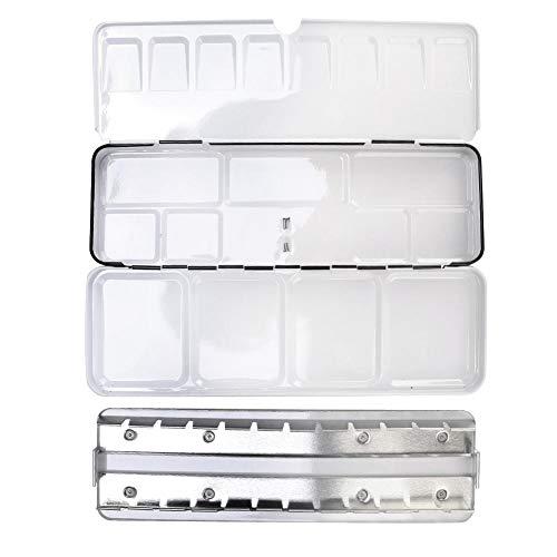 Sheens Caja de latas de Acuarela vacía, Estuche de Pintura de Paleta con Medias Piezas de 24 Piezas Estaño de Metal Negro Estuche de Pigmento sólido Antideslizante Suministro de Pintura