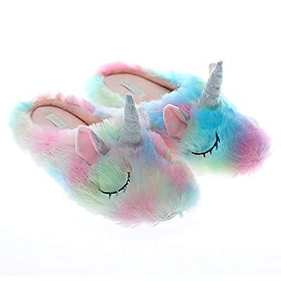 Millffy - Zapatillas de unicornio con diseño de unicornio, diseño de unicornio, para niñas