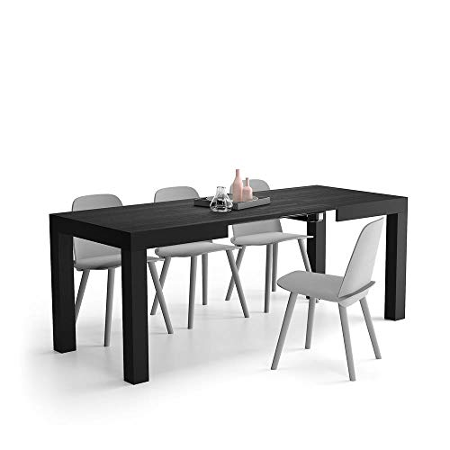 Mobili Fiver, Mesa de Cocina Extensible, Modelo First, Color Negro Ceniza, 120 x 80 x 76 cm, Made in Italy