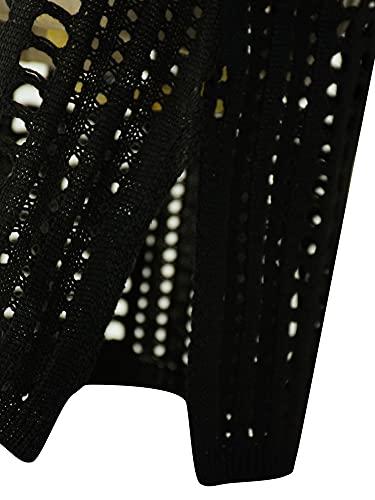 Vestido de Playa Pareo de Punto para Mujer Mini Vestido sin Manga de Tirantes Cubierta de Bikini Cover Up de Bañador con Cuello en V Traje de Baño para Mar Viaje Vacaciones (Negro, L)