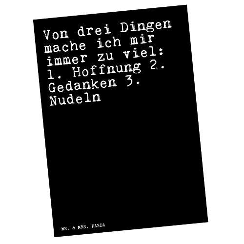 Mr. & Mrs. Panda Postkarte mit Spruch Von DREI Dingen Mache ich Mir Immer zu viel: 1. Hoffnung 2. Gedanken 3. Nudeln