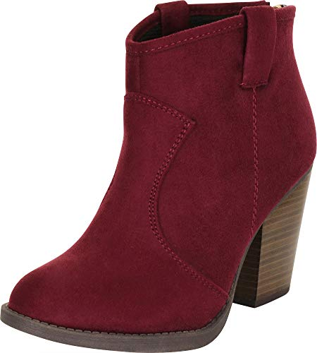 Cambridge Select Women's Country Western Stacked Chunky Heel Ankle Bootie,8.5 B(M) US,Vino IMSU