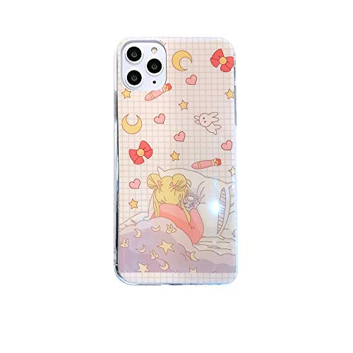 Mamarmot for iPhone 11 Pro Case 11 Pro Cover, Japan Anime Cartoon Sailor Moon Luna Cat Case Kawaii Smooth Laser Silicone Soft Phone Case Back Cover for iPhone 11 Pro (Light Pink, for iPhone 11 Pro)