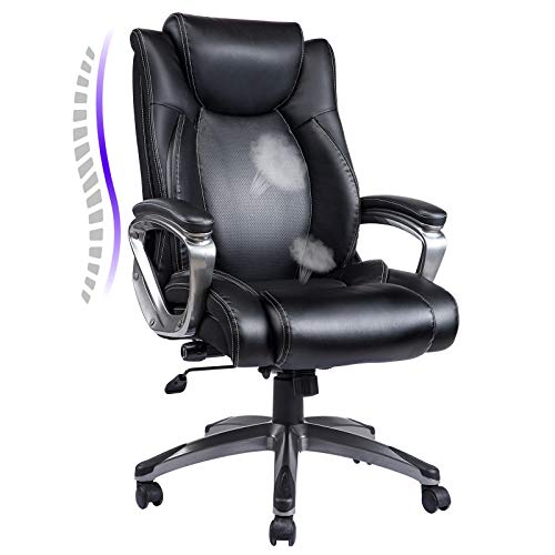 REFICCER Bonded Leather Office Chair - Adjustable Built-in Lumbar Support and Tilt Angle High Back...