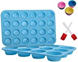 Muffin Pan Set,Silicone Muffin Mold Non-stick,Food Grade Baking Mold,Easy to Clean,for making cakes,chocolates and jellies-2 Pack,12 Cups & 24 Cups Muffin Tin,BPA Free (Xeecnn)…